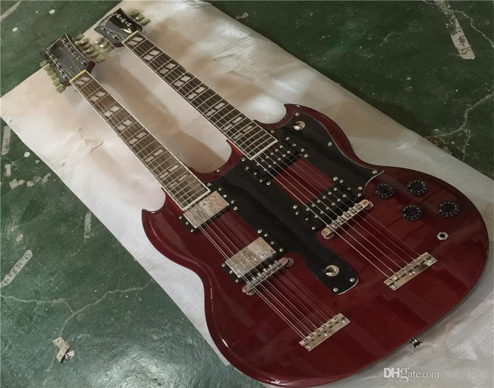 Free ShippingCustom Jimmy Page 12 & 6 strings 1275 Double Neck Led Zeppeli Page Signed Aged Wine Red Body Electric Guitar