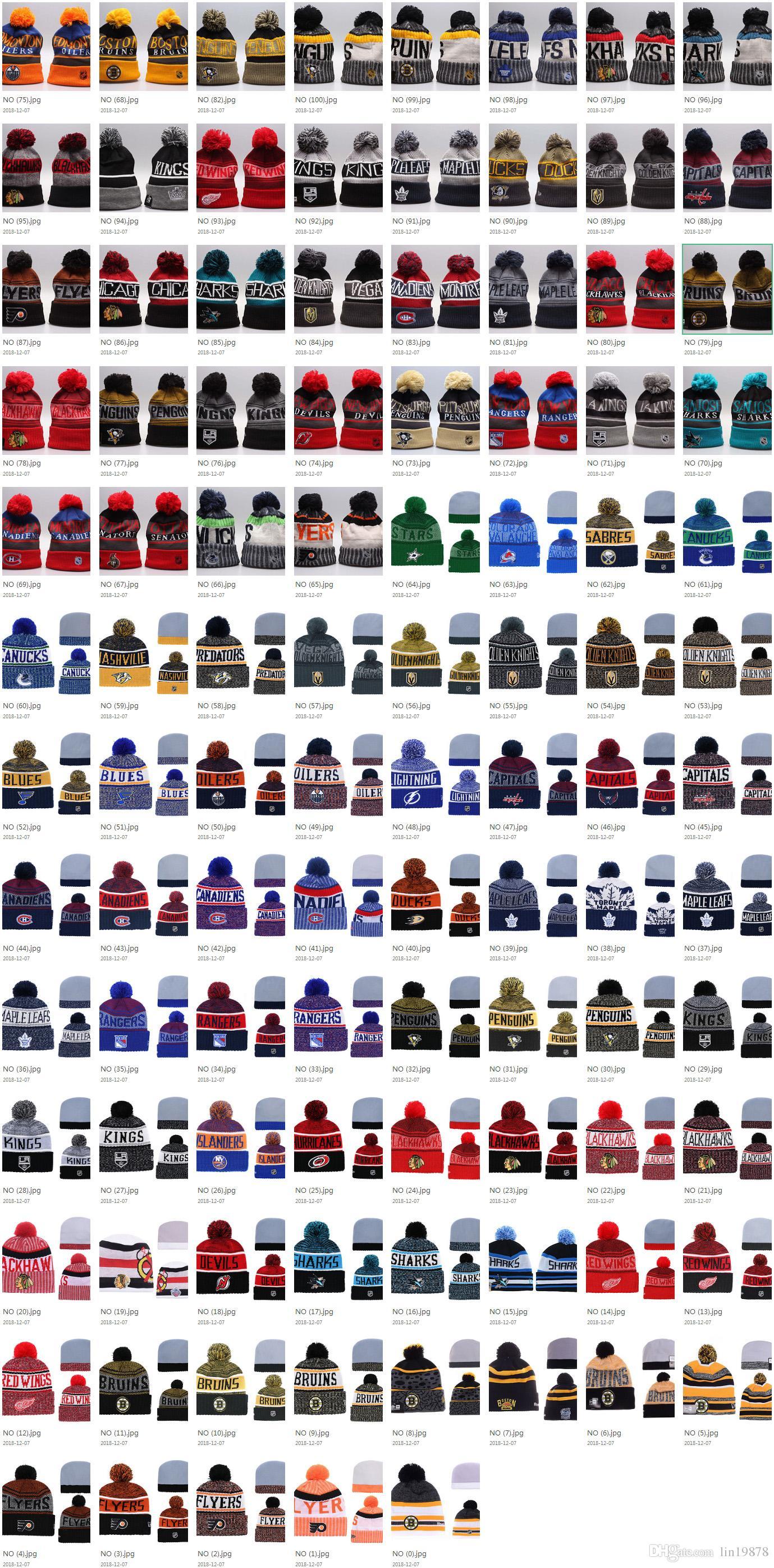 Inverno 101 stili NHL Maple Leafs Donna Inverno Lavorato a maglia di lana Blackhawks Pinguini Volantini Sharks Berretti Cappelli Uomo HipHop Beanie Cappelli caldi