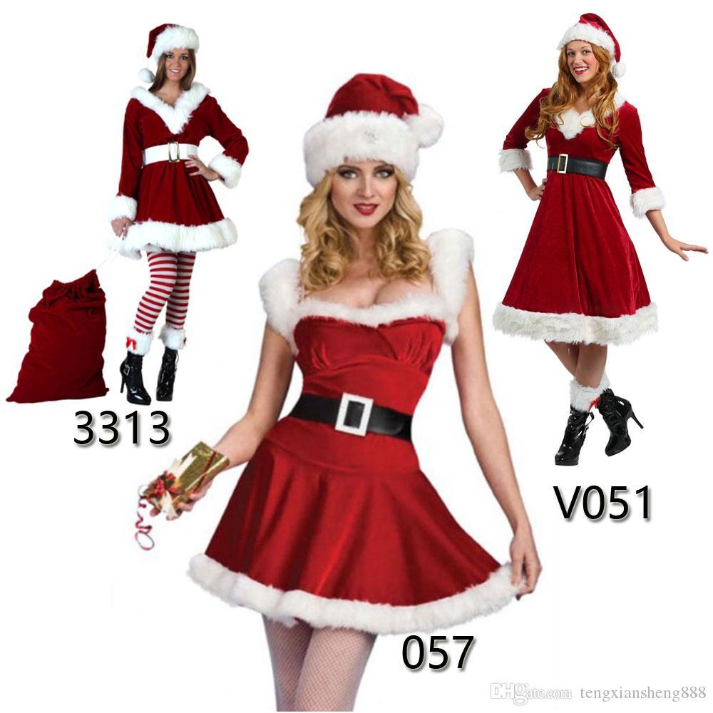 2019 Hot sig.na Santa di costume delle donne Mrs Claus Modella Babbo Natale di Natale di Cosplay del vestito operato di S - L