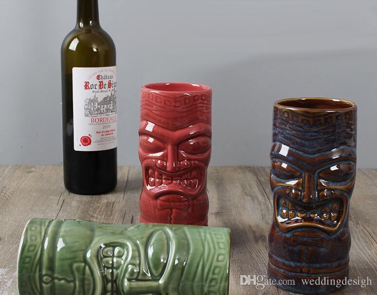 Yaratıcı Kırmızı Şarap Bardağı Maskesi Yaratıcı Tiki Kupa Kokteyl Bardağı Bira Şarap Kupa Seramik Kupalar Sanat El Sanatları Yaratıcı Hawaii Kupalar