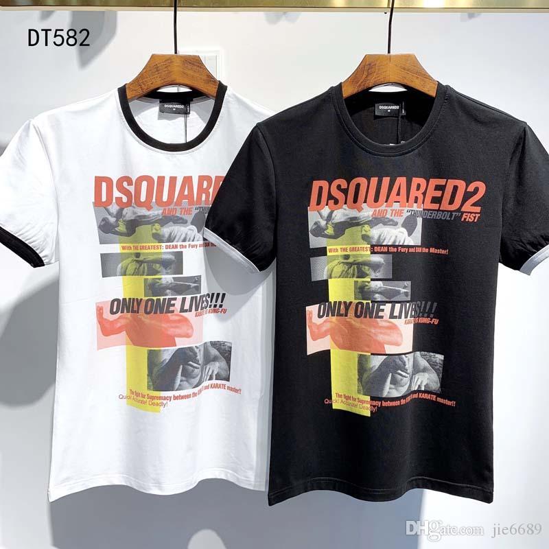 2020 SS New Arrival t-shirt Top Quality D2 roupas masculinas Imprimir Tees manga curta M-3XL DT582