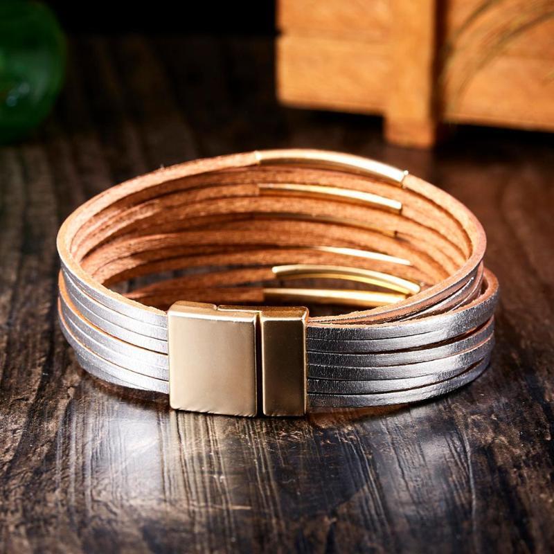 Nuovo cuoio del nastro dell'oro nero braccialetti dell'involucro Per monili delle donne Magnet Buckle Livelli multipli fascino del partito del braccialetto di modo