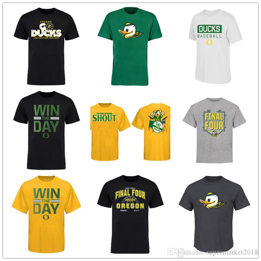NCAA Oregon Ducks tapones de algodón de la marca de medianoche de la mascota de los hombres de la camiseta de fútbol 2019 y tees Amarillo Verde deporte naranja camiseta impresa de logotipos