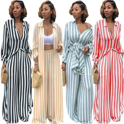 Striped Casual Two Pieces Sets Long Sleeve Blouse Elastic Waist Wide Leg Pants Tracksuit Femme 2 Pieces Outfits New Women Fashion