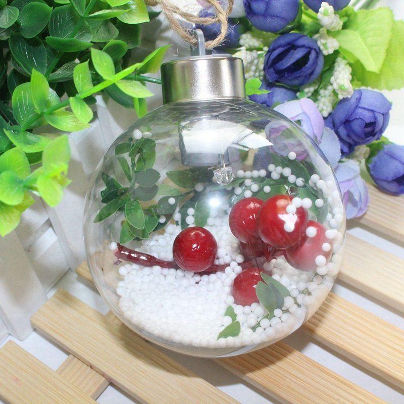 8 cm Şeffaf Noel Topu LED Işıklar Ağacı Süsleme Plastik Bauble Noel hediyeleri Dekorasyon Lambası