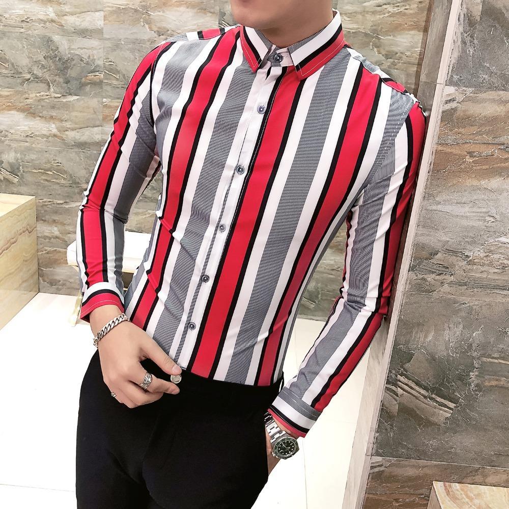 2019 New Fashion Men Shirt Color Stripe Long Sleeve Dress Shirt Male Korean Designs Nightclub Party Striped camisas hombre