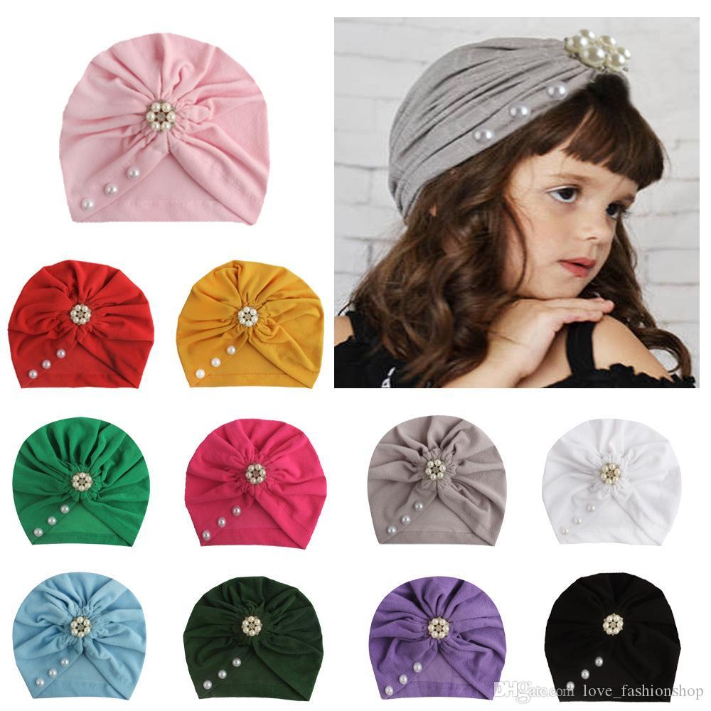 Ins toddle bebé las gorras de algodón de la perla de diseño niños de las vendas hat Pañuelos tapa de turbante accesorios niña pelo de los niños