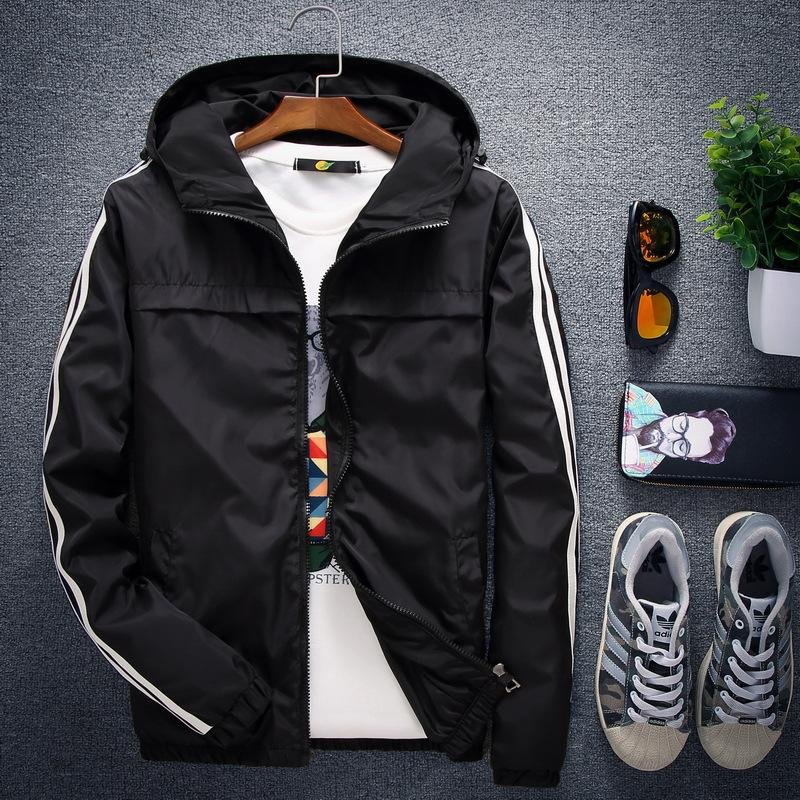 Printemps Automne Nouveau Hommes Veste à capuche de couleur unie à manches longues rayé simple veste noire Taille S-4XL