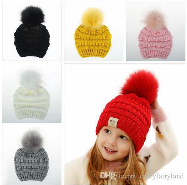 Designer Kids Baby Beanie Wool Knitted Pom Pom Hat Children Winter Warm Knitted Baby Hats Fashion Boys Girls Skullies Beanie Hats Xmas Gift