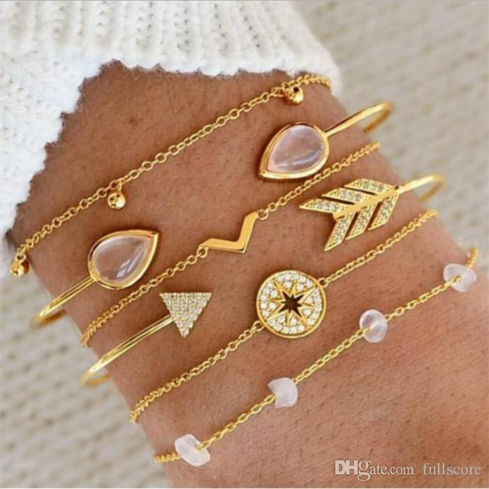 2019 Retro Hollow Star Moon Love Crystal Chain Pendant Gold Bead Bracelet Female Classic Multilayer Leather Bracelet Set 2019