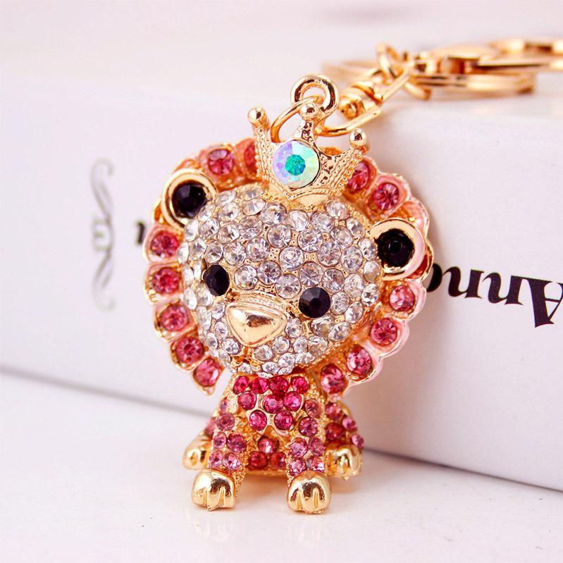 XDPQQ bonito 4 do leão da cor dos desenhos animados Keychain Lady Bag Acessórios Memorial Animal Gift Keychain pingente de metal