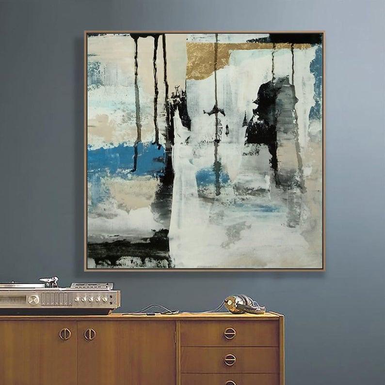Grey Large Wall Art Abstract Acrílico ouro Pintura Blue Black pintura em tela Handmade Original Art Home Decor