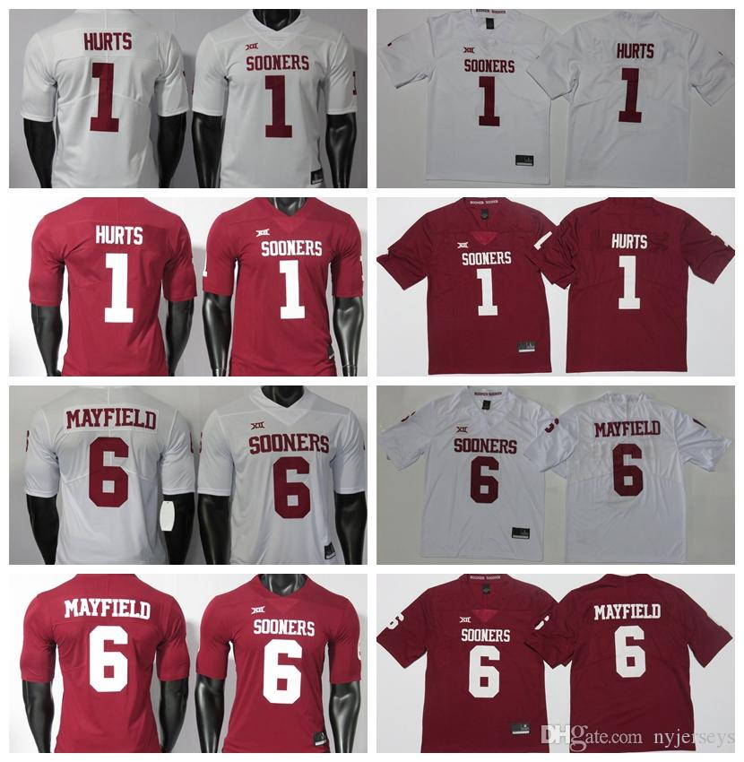 College Football Jersey ricamati 150 ° Baker Mayfield Jalen Hurts 2019 NCAA Oklahoma Sooners maglie Bianco Rosso