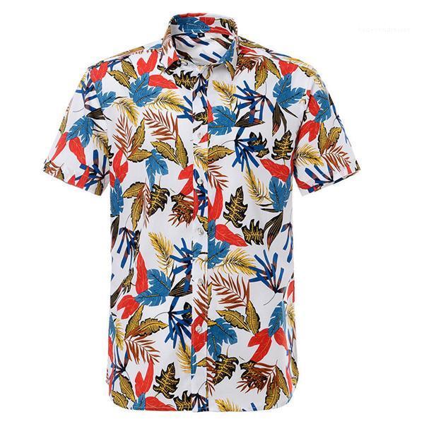 Corta de la manga ocasional da vuelta Dowm cuello del botón camisas hawaianas para hombre del estilo del verano camisetas de vacaciones vacaciones con estampado floral