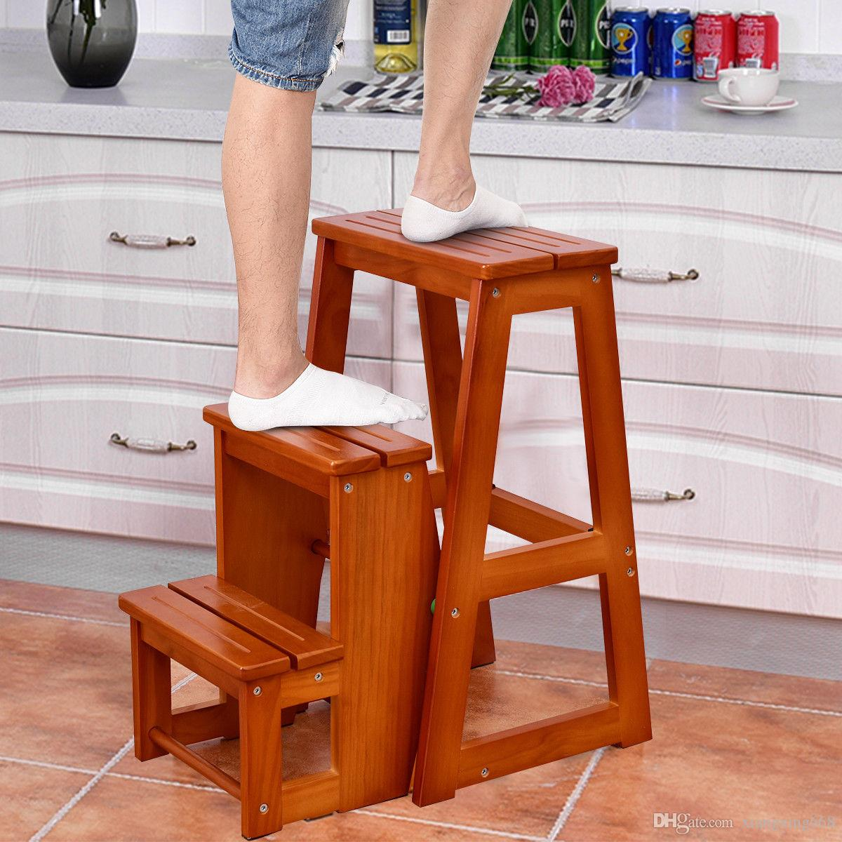 Fine 2019 Wood Step Stool Folding 3 Tier Ladder Chair Bench Seat Utility Multi Functional From Xiangxing668 53 26 Dhgate Com Gmtry Best Dining Table And Chair Ideas Images Gmtryco