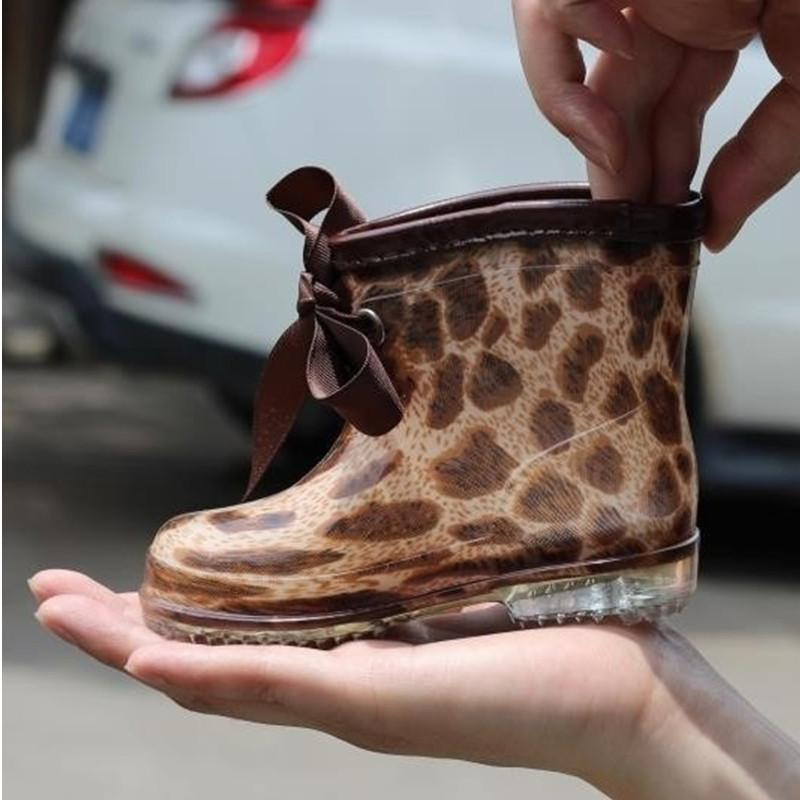 Children's Rain Boots 2018 Fashion Leopard Kids Rainboots For Baby Boys Girls Waterproof&slip Shoes Bow Snow Boots For Girls Y200104