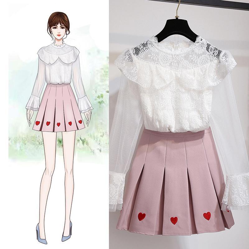 Femmes 2019 costume de mode coréenne broderie jupe blanche en dentelle chemisier top vêtements mis en deux pièces costume robe fille fille