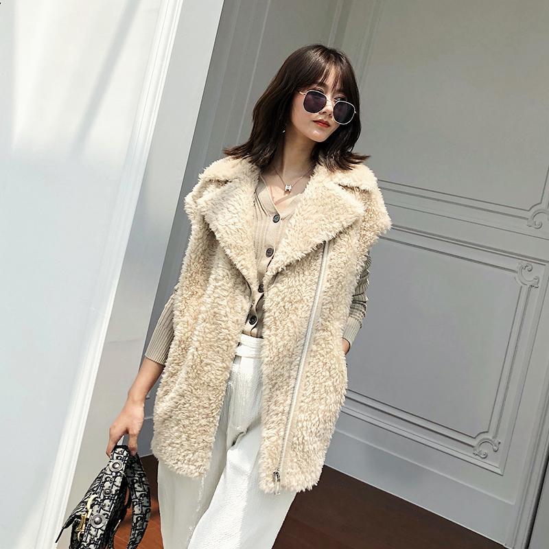 Abrigo de piel de las mujeres reales Ropa 2019 otoño invierno chaleco delgado 100% de la chaqueta de lana sin mangas del chaleco de Manteau Femme MU205011 YY2251