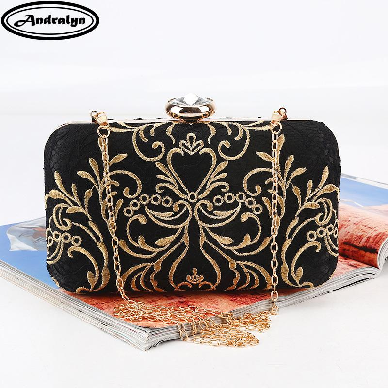 Andralyn New Printed Gold Embroidery Evening Bag Vintage Chain Shoulder Messenger Bag Clutch Lady Party Dinner Wedding Handbags Y19062003
