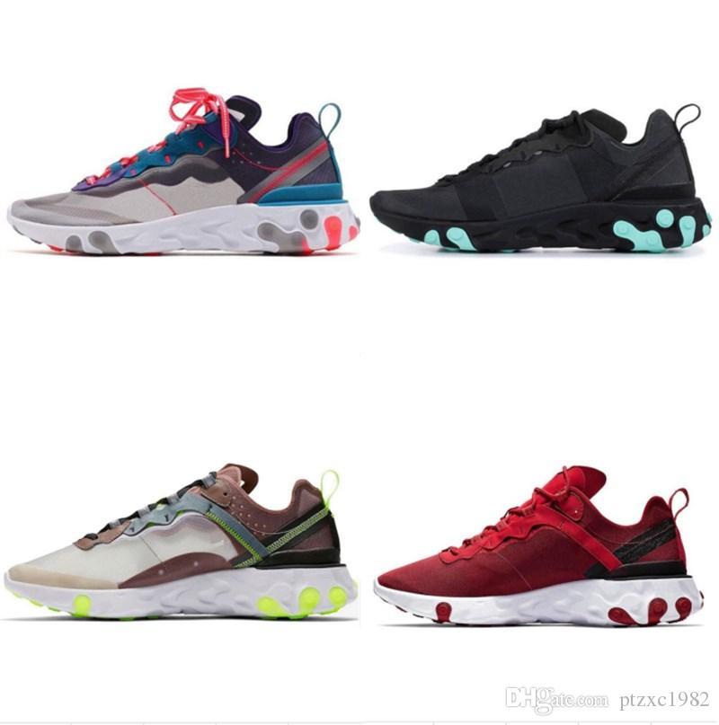 Novo Quality Reage Element 55 87 Undercover Mens Correndo Tênis Triplo Preto Branco Vermelho Sail Anthracite Ao Ar Livre Sneakers Womens Sports Shoes