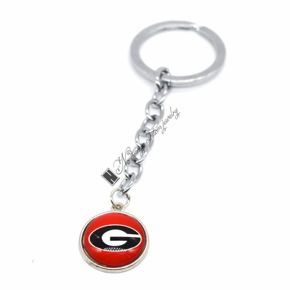 2019 Jóias de Futebol Chaveiro NCAA Georgia Bulldogs Encantos / 18mm Botão de Pressão Encantos Chaveiro de Carro para Mulheres Homens Presente