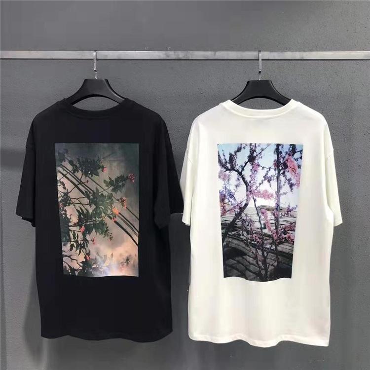 Nagri Tide Marke Herren-FOG Blumendruck Paar High Street Trend losen beiläufigen T kurze Ärmel Herren-T-Shirt