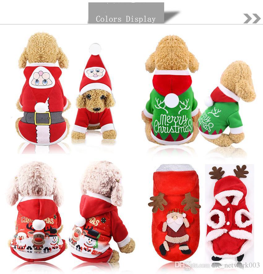 Pet Dog Santa Костюмы Рождественские Одежда для украшения Одежда для украшения для любимых толстовок Щенок Cats Бесплатная Доставка A03