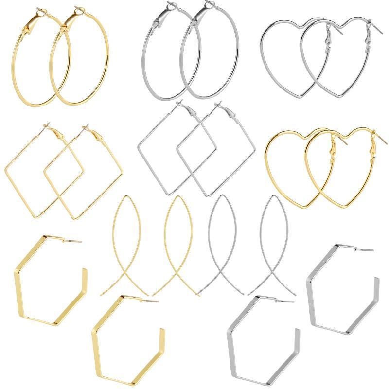simpleearrings pendientes europeos y americanos con aleación de retro geométrica del anillo gran plaza polígono 5 piezas pendientes establecidas