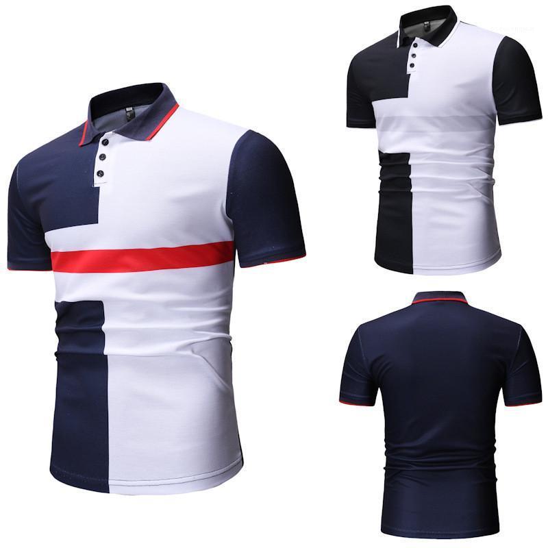مصمم واسعة مخصر تي شيرت الذكور الملابس رجالي لون التباين تيز أزياء قصيرة الأكمام نصب منصة العاب الكرة والصولجان