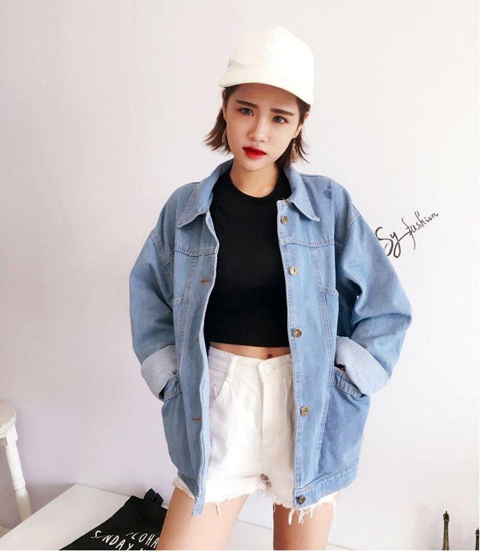 İlkbahar Sonbahar Kot Ceketler Bayan Uzun Kollu Rahat Gevşek Ceket Kadın Dönüş Denim Yaka Boy Kısa Giyim Chaquetas