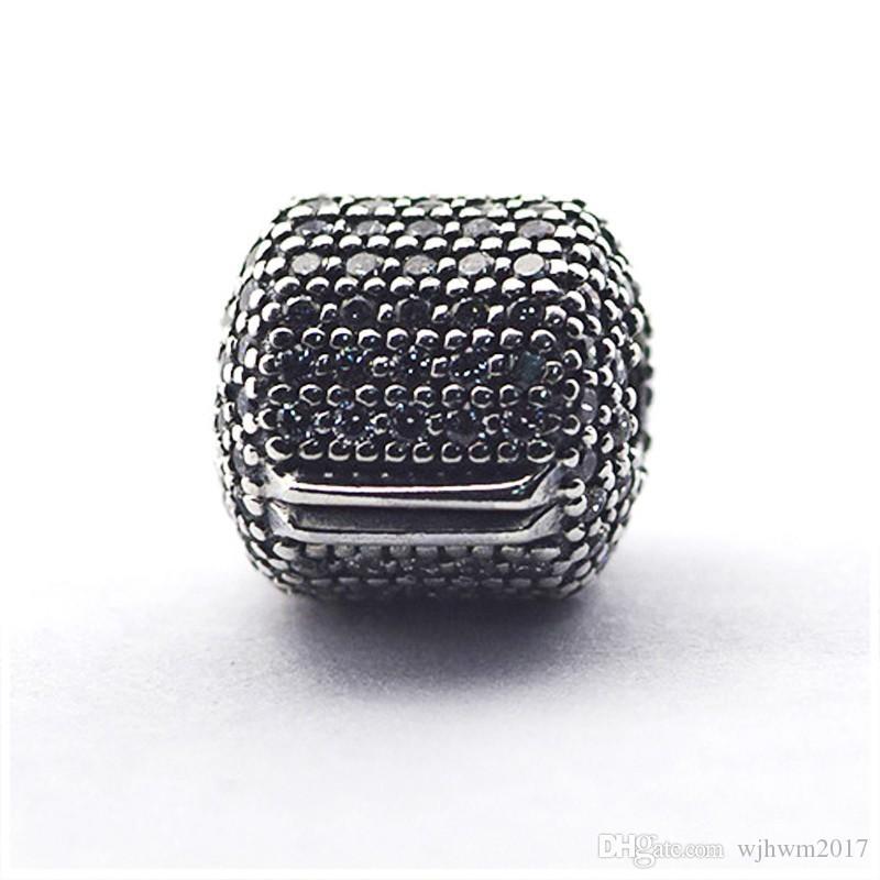 Micro Pave Barrel clip Charm Perles authentique Bijoux Argent-925-Sterling Pave Cristal Stopper verrouillage Perle Diy Marque Logo Bracelets Accessoires