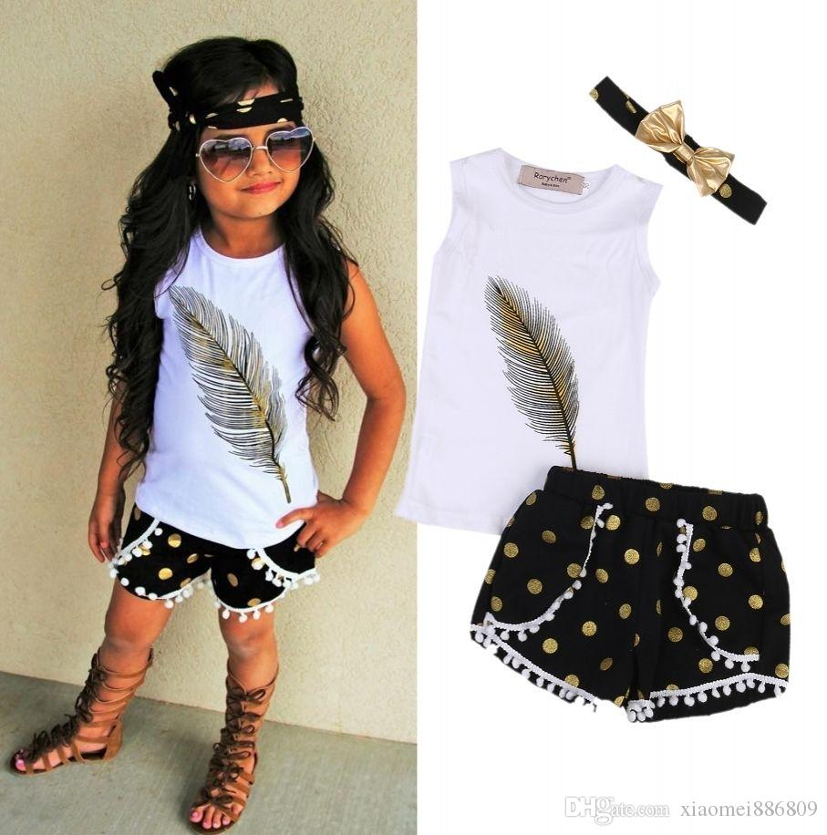 HOT Cute Toddler Kids Girls Clothes Vest Tops Shorts Pants 3Pcs Outfits Set Age 2-7T Gift
