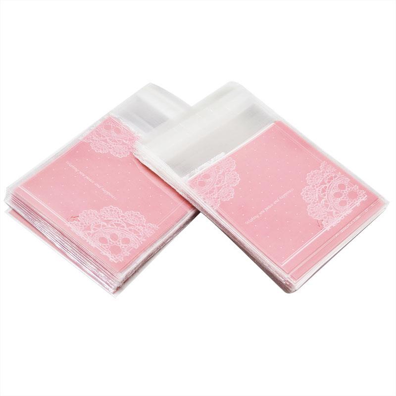 50 / 100pcs Adorável Rosa Lace transparentes sacos de celofane de plástico Baking doces favores de festa de presente do bolinho saco para casamento
