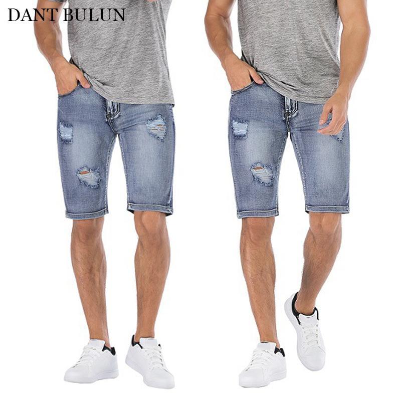 Pantaloni di scarsità dei jeans skinny Estate denim Streetwear da uomo Strappato ginocchio distrutto lunghezza pantaloni scarsità casuali Jeans Homme pantaloni