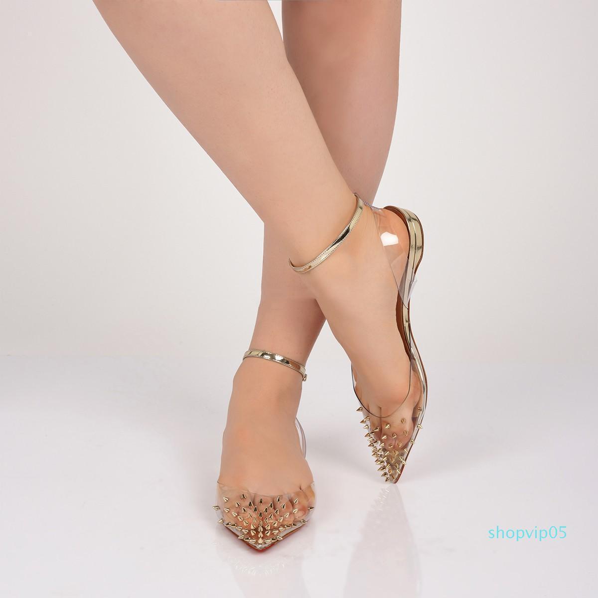 Популярные дамы Красное дно Spikoo ПВХ Спайк плоские балетки обувь высокого качества острым носом шпильки лодыжки ремень женщины прогулки квартиры