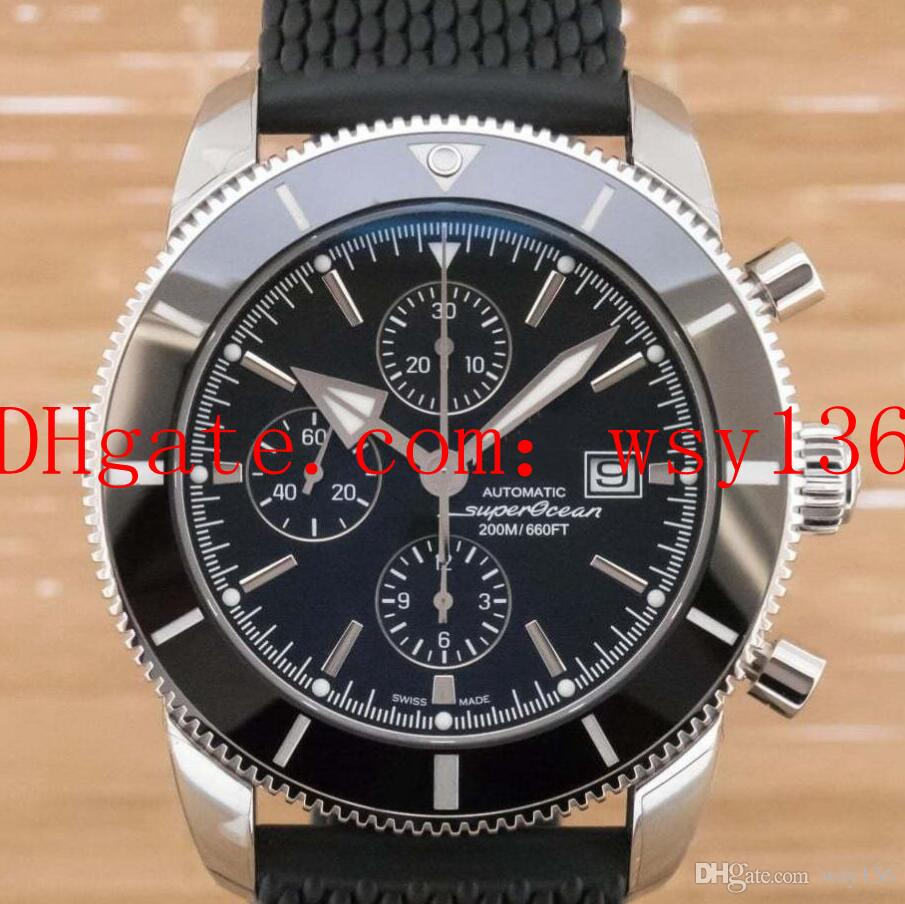 Luxury Top Quality Mens Date Watch Superocean Heritage II A1331212 BlackDial And Rubber Band Quartz Movement Men's Wristwatches
