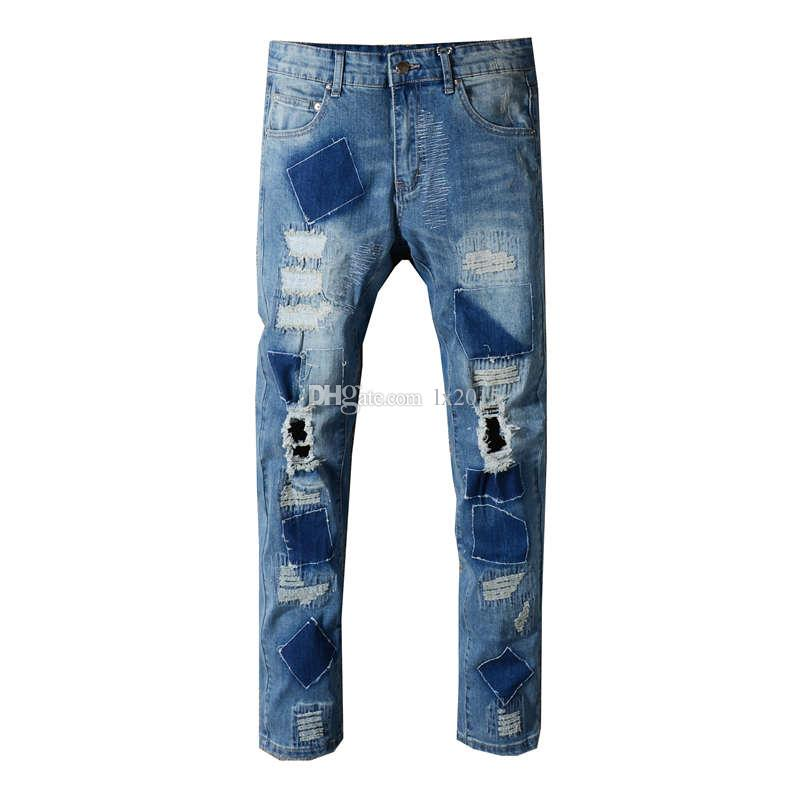 Robin istressed Slim fit Biker jeans For Men Mens Distressed Vintage Pants Washed Blue old damage Denim Jeans Slim Trousers 29-42