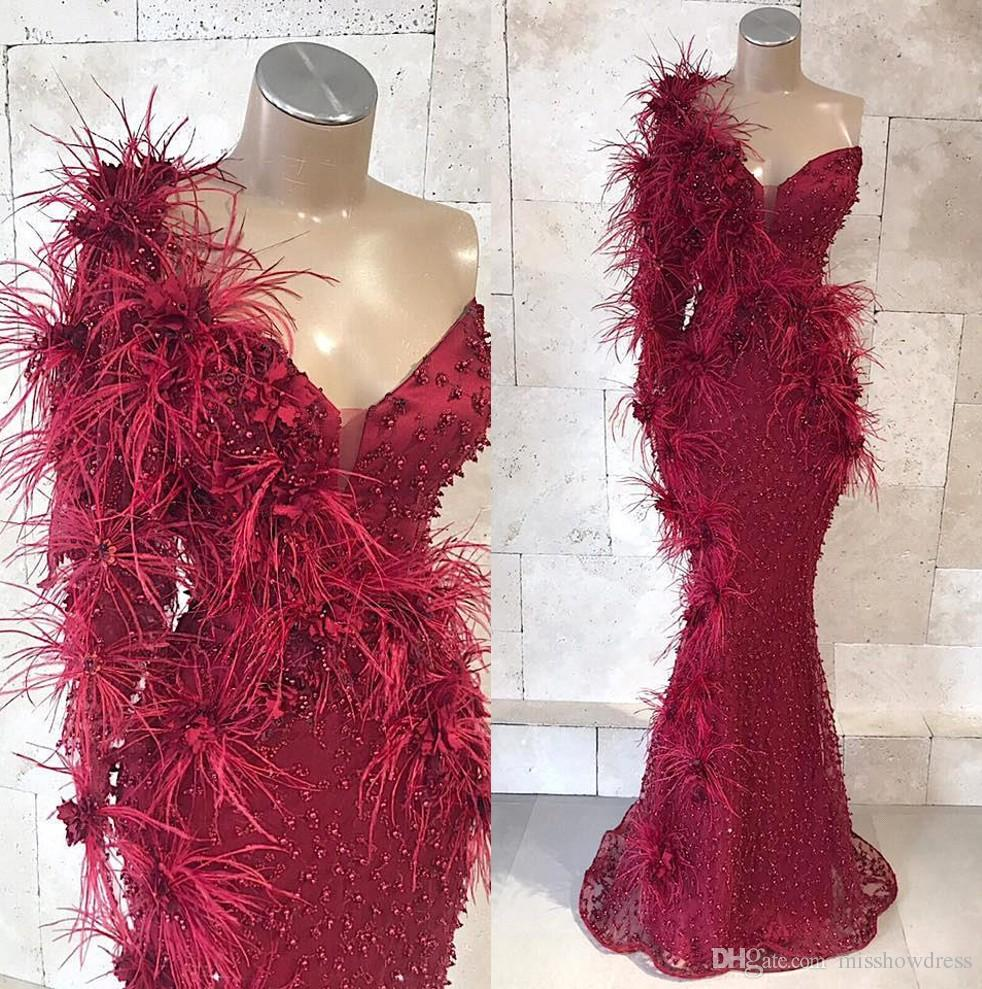 Pluma de un hombro de la sirena de Borgoña vestidos de noche 2019 Cuentas 3D apliques de encaje floral Prom vestidos del partido Black Girls vestido BC1809