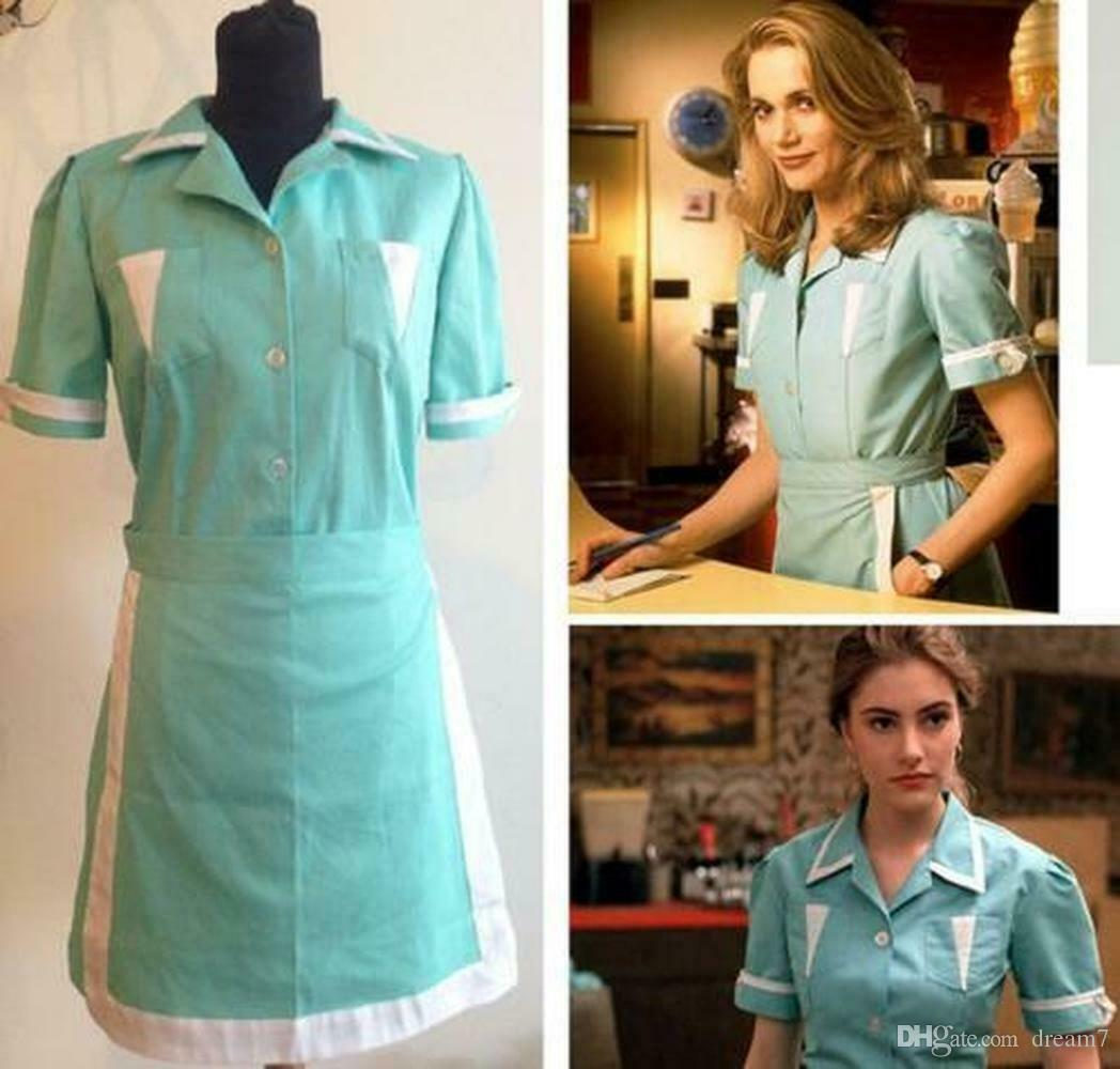 Twin Peaks cosplay costume Adult Maid dress custom made Waitress Cosplay dress