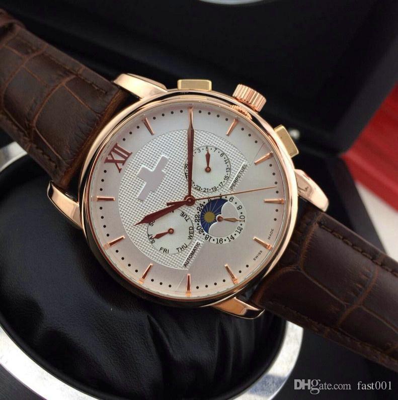 BrownLeather Top mode de luxe pp Mécanique Mens designer en acier inoxydable Montre automatique de mouvement Sport mens montres-bracelets