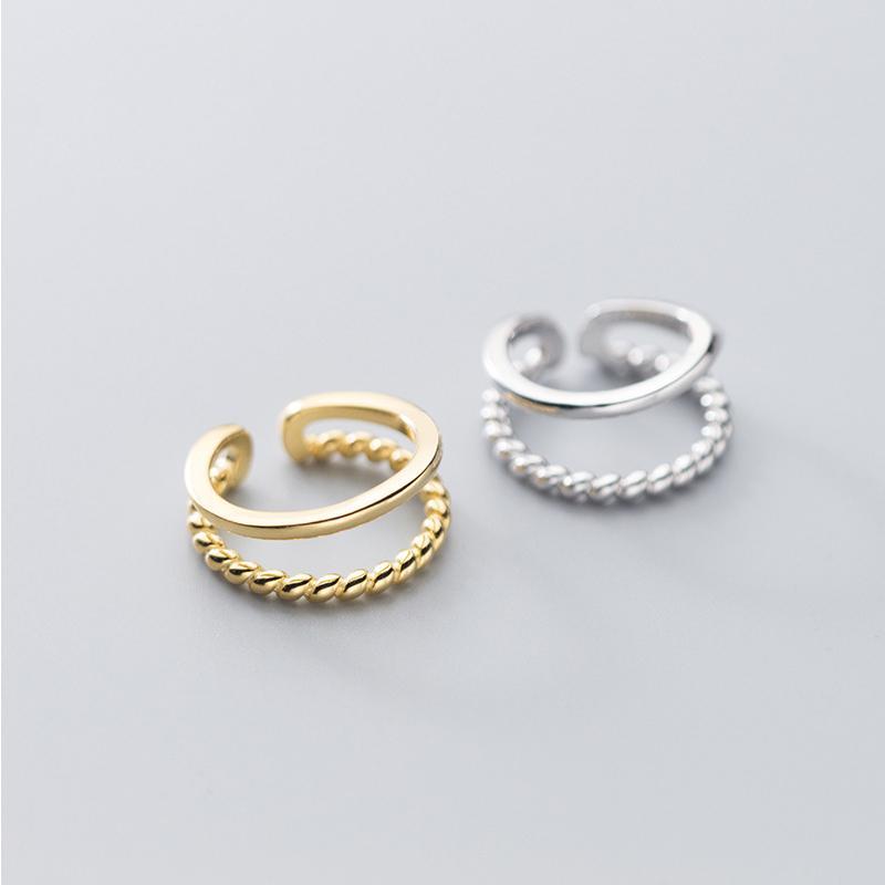 Double-Layer-Twisted-925 Sterlingsilber-Ringe für Frauen Knöchel-S925 Silber Schmuck