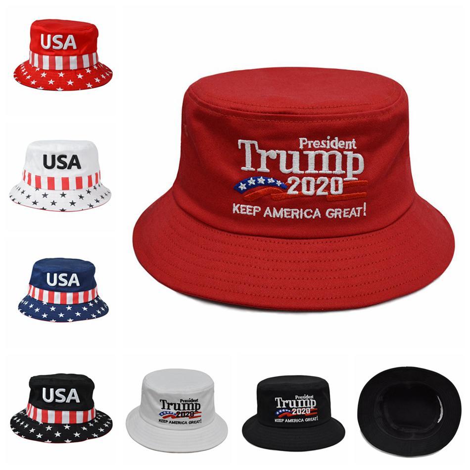 Trump 2020 Il cappello ricamato Bucket Cap mantenere l'America Grandi cappelli Trump Cap USA presidente americano Tesa larga Pescatore Cappello LJJA2159