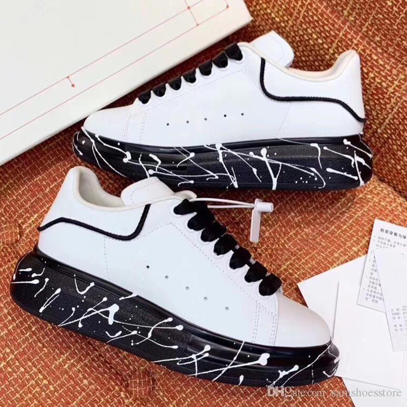 Melhor Qualidade Graffiti mens sapatos de grife de grandes dimensões mulheres de luxo sapatos famosos Partido Paris tênis de grife Com solas largas pintadas