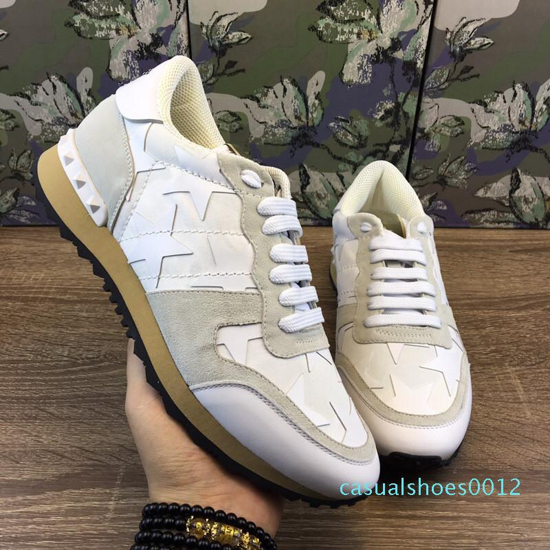 2020 Fashion Luxury Designer Mens Womens Shoes Sneakers Rivets Camouflage Comfort Platform Casual High Quality Trainers Dress Sneakers c12