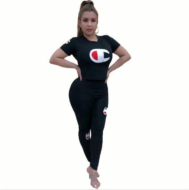 Бесплатная доставка женские наборы для женщин красный синий черный 2 шт спортивный костюм хлопок летний пуловер костюмы Женская одежда из двух частей спортивные костюмы CC99