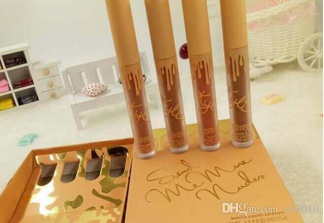 Marka Uzun Ruj Seti 4 Adet Lip Gloss Parlak Ruj Su geçirmez Mat Dudak Makyajı 4 Colors set süren