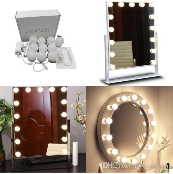 DC5V 20W LED Vanity Makeup Mirror Lights Kit 10led Lâmpadas para Hollywood Estilo Branco Iluminação LED Lâmpada de Toque Dropship