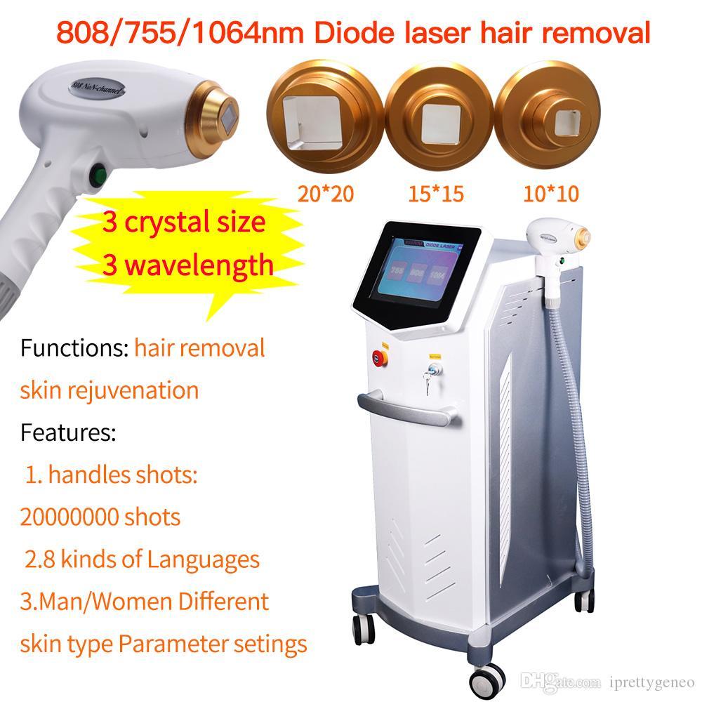 Professionnel 3wavelength 755nm 808nm 1064nm Diode Laser Removal Machine cheveux Rajeunissement de la peau 20000000 Tirs Vente