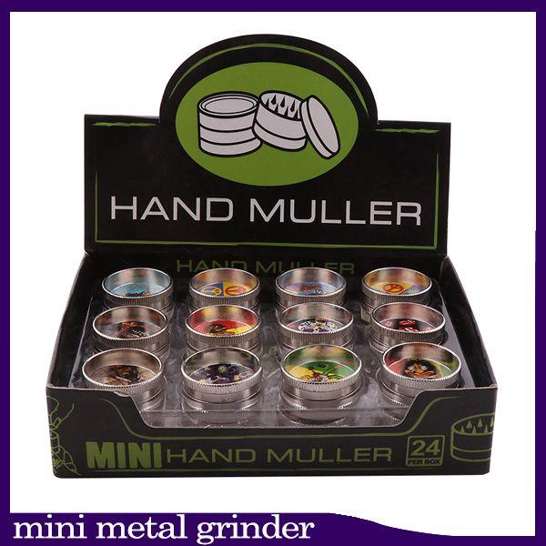 Grinder Tobacco 2 Capa Mini Mini Metal Miller MULLER Para la Hierba Seco Grinder 30mm Diámetro Top Durno Pequeño Grinder Herbal 24 PCS Lot