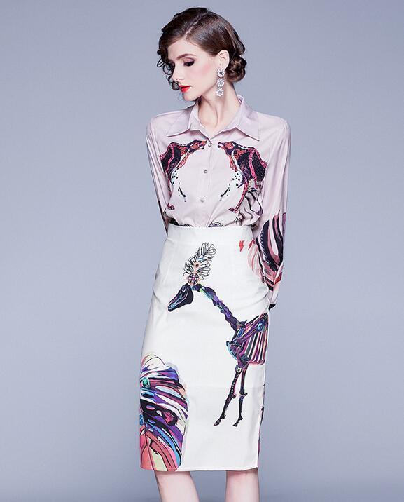 molla del modello Leopard best-seller delle donne bavero stampa camicia + pannello esterno dell'anca abiti stile strada a maniche lunghe